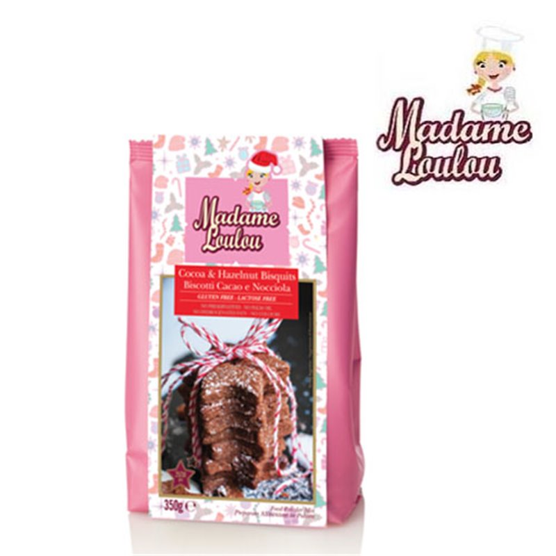 GLUTEN AND LACTOSE FREE COCOA AND HAZELNUT PREPARATION ( COOKIES COCOA & HALZENUT ) 350 GRAMS MADAME LOULOU ( ML7015 )