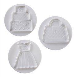 SET 3 CUTTERS DRESS, BAG AND CAKE WITH PAVONI EJECTOR REF. NO3009