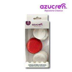 50 MINI CAPSULES RED/WHITE 3.2 X 2.2 CM. ( IN BOX )